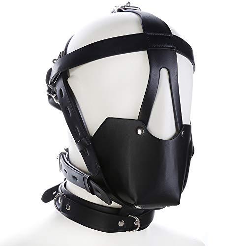 CLII Schwarzes Leder Pferd Gimp Maske Kopfschmuck und Ball Gag SM Sex Spielzeug Erwachsenen Maske Zurückhaltung Sklaverei (Gimp Maske Kostüm)