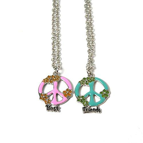 Freundschaftsketten mit Anhänger Best Friends Peace-Zeichen mit Blüten rosa und blau (Rosa Zeichen Peace Symbol)