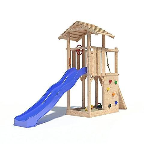 Spielturm EMPIRE von Oskar mit Rutsche, Kletterwand, Lenkrad und Kletterrampe auf 1,20 Meter