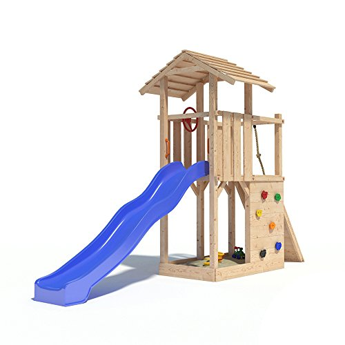 Spielturm EMPIRE von Oskar mit Rutsche, Kletterwand, Lenkrad und Kletterrampe auf 1,20 Meter Podesthöhe