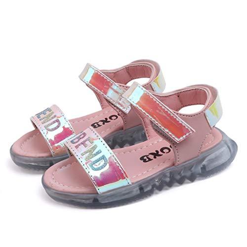 Mädchen helle Leder mehrfarbige LED leuchtende Sportschuhe Fingerlose Sandalen Brief führte Licht Laufsport Sandalen Turnschuhe Schuhe ()