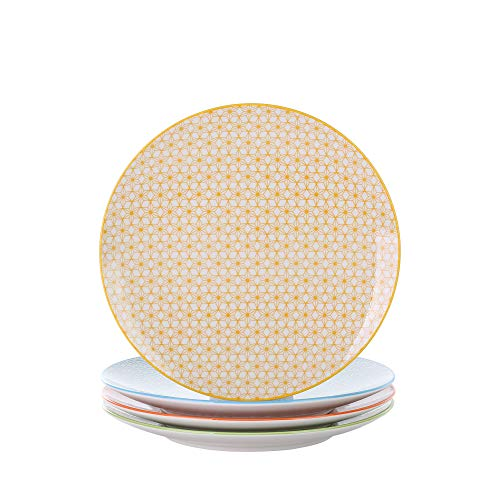 Vancasso Natsuki Porzellan Dessertteller, 4 teilig Set Kuchenteller, Ø 21,5 cm Flachteller für Frühstück