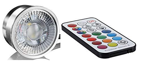 Alu Led Flat Flache Birne Lampe RGB+WW 3000K mit Programme und Infrarot Fernbedienung 3Watt 50x28mm für geringe Deckenhöhe 230Volt - Rgb Flat Led
