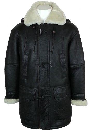 UNICORN Männer Echte Leder Jacke mit Kapuze Schaffell Dufflecoat - Echtepelz Mantel - Braun und Creme# CC Größe 50