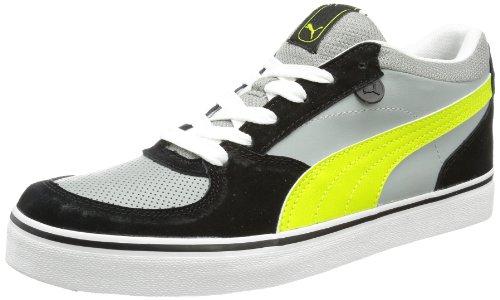 Lime Leder Skate Schuhe (Puma Skate Vulc 354604 Herren Sneaker, Grau (limestone gray-lime punch 11), EU 44.5 (UK 10) (US 11))