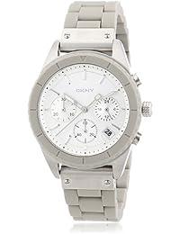DKNY Bowery Chrono NY8580 - Reloj cronógrafo de cuarzo para mujer, correa de silicona color gris (cronómetro, agujas luminiscentes)