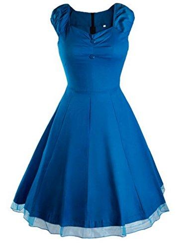 Smile YKK Femme Rétro Robe Princesse Sans Bretelles Moulante Elégante Bleu