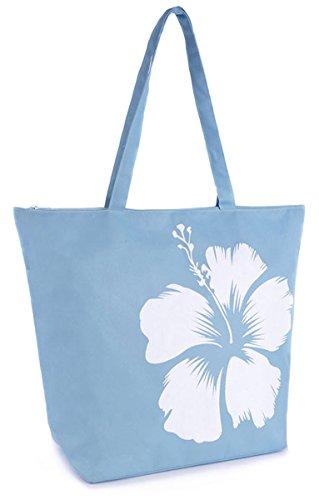 Octave , Damen Schultertasche One size Blau - Solid Colour Floral Print Design - Blue