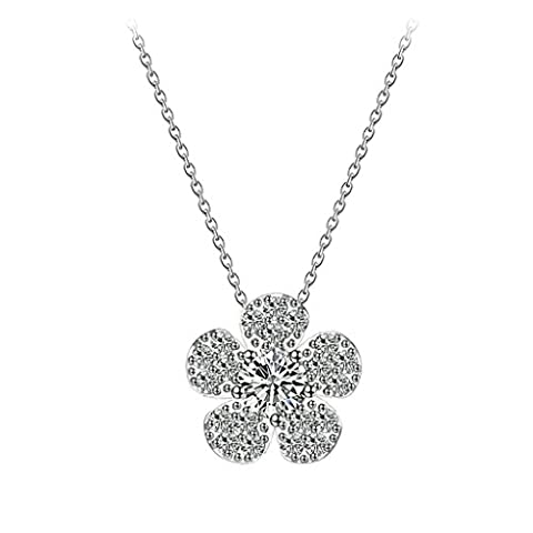 Aooaz Womens Necklace, Silver Plated Pendant Necklace Flower Crystal Cubic