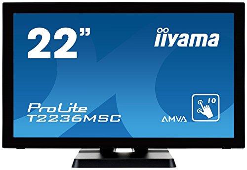 iiyama ProLite T2236MSC-B2 55cm (21,5 Zoll) AMVA LED-Monitor Full-HD 10 Punkt Multitouch kapazitiv (VGA, DVI, HDMI, USB3.0) schwarz (55 Touch Screen Monitor)