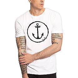 VIENTO Anchor Logo Camiseta Para Hombre (M, Blanco)