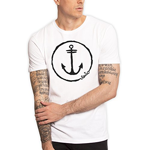 Viento Anchor Logo Herren T-Shirt (Weiß, S) (Mode-illustration Textilien)