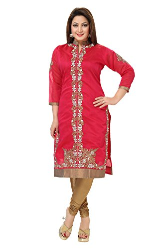Designer Party Wear Embriodered Red Chanderi Kurti by D&D(RED-44)