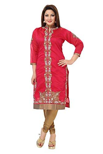 Dream & Dzire Women's Banarasi Chanderi Red Straight Kurti for All Plus...