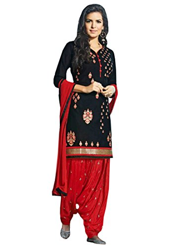 Shoponbit black and red colour cotton embroidered party wear semi stitched patiala suit