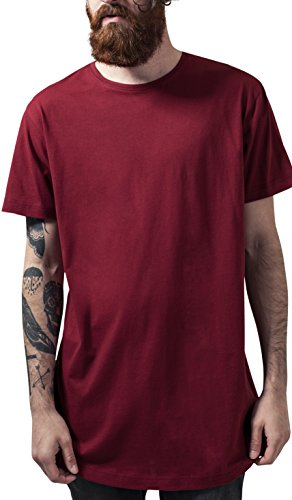 Urban Classics Herren T-Shirt Shaped Long Tee, Rot (Burgundy 606), Small (Baumwolle Classic Rot)
