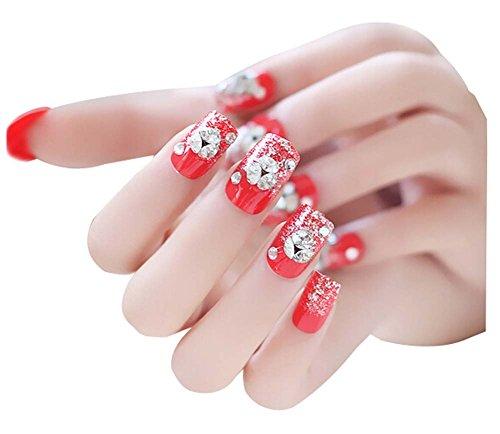 2 Boîtes(48Pièces) mariage faux ongle/Classique style faux ongle, Rouge Cristal