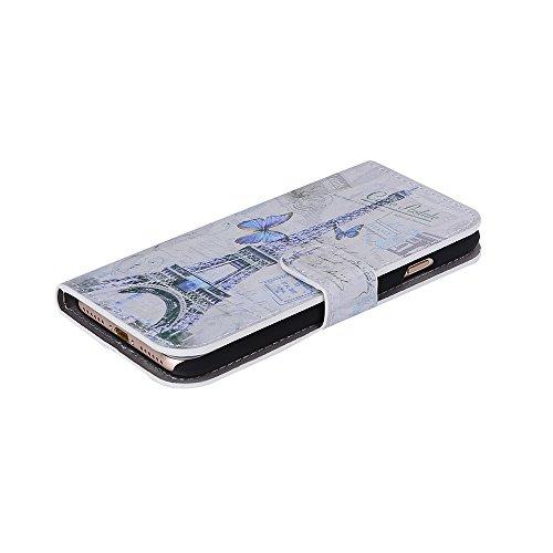 Voguecase Pour Apple iPhone 7 4,7 Coque, Étui en cuir synthétique chic avec fonction support pratique pour iPhone 7 4,7 (Grille irrégulière-Noir)de Gratuit stylet l'écran aléatoire universelle Tour 02