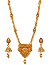 JFL - Traditional And Ethnic One Gram Gold Plated Designer Long Necklace Set With Earring For Women & Girls.