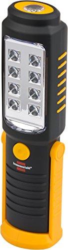 Brennenstuhl LED Taschenlampe mit Batterie / SMD LED Handleuchte mit 8 + 1 hellen SMD-LEDs (max. 10 Stunden Leuchtdauer, drehbarer Haken, Magnet) schwarz/gelb