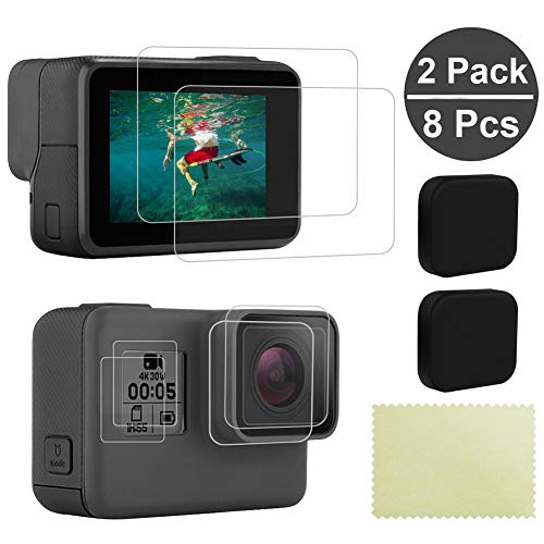 8 x Displayschutzfolie für GoPro Hero 5/6/7 (schwarz) - Ultraklare gehärtete Glas-Displayschutzfolie für GoPro LCD-Display, Front-Display & Objektivschutz aus Silikon - 2 Packungen (8 Stück)