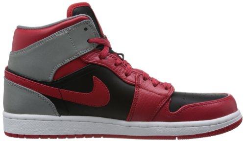 Jordan Nike–Air 1Mid 554724–603–Rosso Baskets modalità Uomo RED/BLACK/GREY