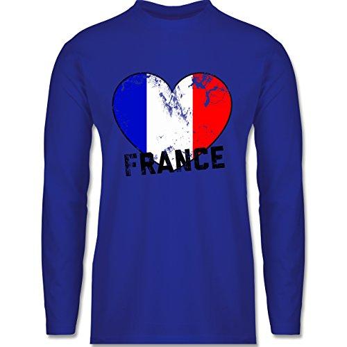 EM 2016 - Frankreich - France Herz Vintage - Longsleeve / langärmeliges T-Shirt für Herren Royalblau