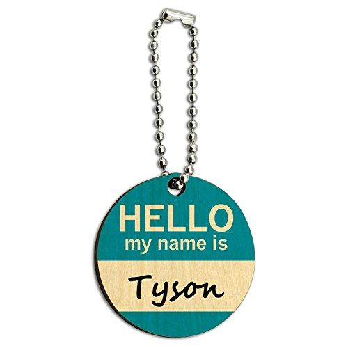 Preisvergleich Produktbild Tyson Hello My Name Is Holz rund Schlüssel Kette