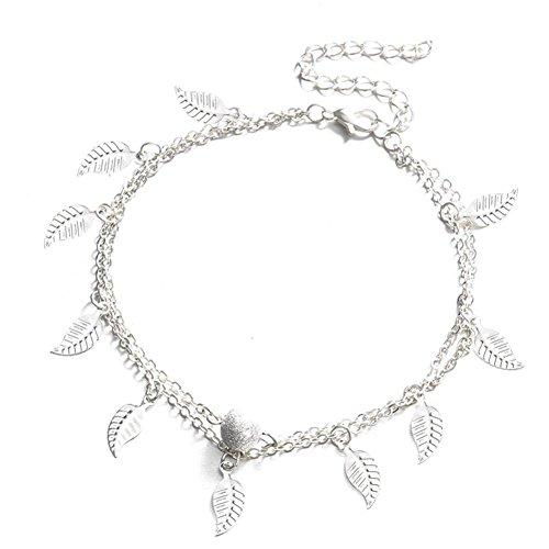 Preisvergleich Produktbild gaddrt Doppelkette Fußkettchen Schmuck Fußkettchen Perlen Boho Fuß Gothic Bohemian (Silber)