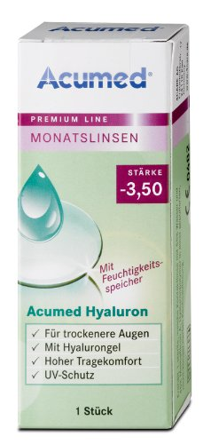 Acumed Hyaluron Monatskontaktlinse, -3.50 Dioptrien, 1 Stück