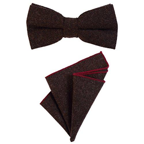 DonDon Herren Fliege 12 x 6 cm gebunden längenverstellbar und Einstecktuch 23 x 23 cm farblich passend aus Baumwolle dunkelbraun