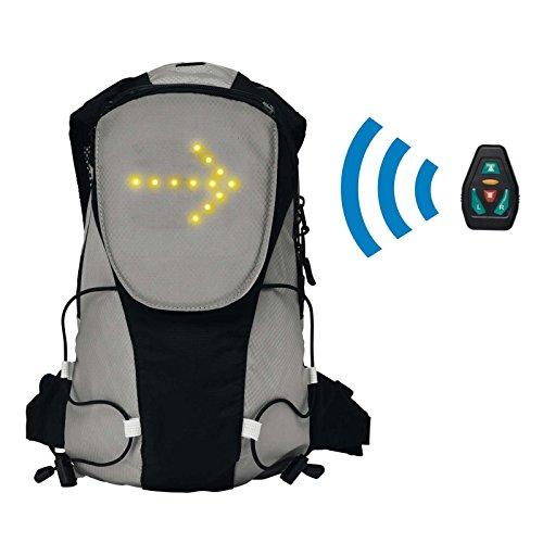 Fahrradrucksack mit LED Beleuchtung Rucksack Gepolsterer Rücken Leuchtsignale Fernbedienung (Schulrucksack, Abbiegepfeile, Gefahr, Stopp, Leuchtrucksack, Sportrucksack, LED-Blinker)