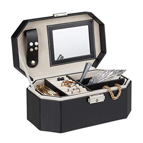 Relaxdays Schmuckkästchen für die Reise, Schmuckkasten mit Schloss, kompakte Schmuckbox für Ringe und Ketten, schwarz (Mit Schloss Schmuckkästchen)