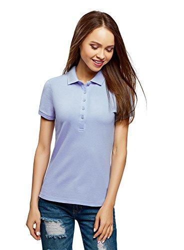 oodji Ultra Damen Pique-Poloshirt Basic, Blau, DE 44 / EU 46 / XXL