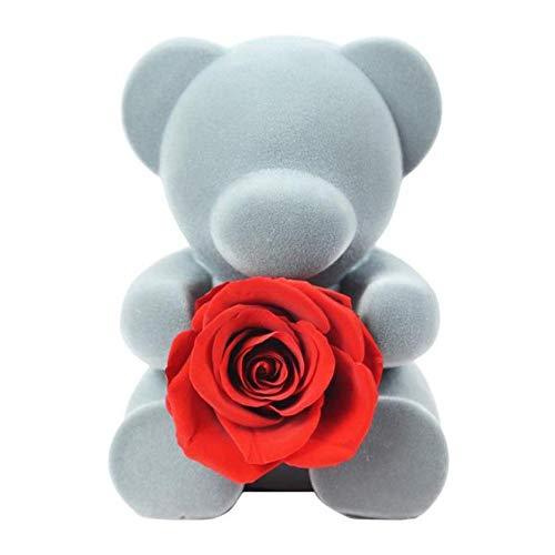 Wovemster bambola a forma di fiore rosa fresca e preservata fatta mano con bella confezione regalo l'orso mai appassito diventa il ideale per i partner san valentino, anniversario o fidanzamentoorso