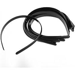 12X Diadema plástico Cinta Pelo Banda Estilo Simple Negro 10 mm