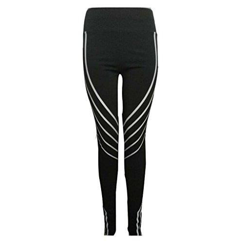 Femme Leggings de Sport Taille Haute Pantalon Yoga Jogging Gym Workout Pantalons Meedot Noir