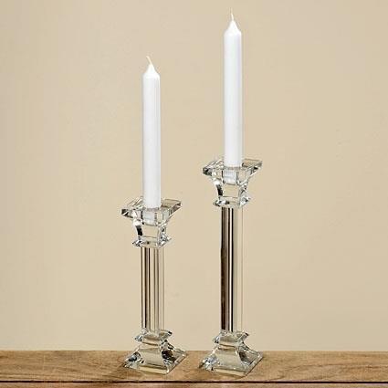 Kerzenleuchter Glas 20cm einflammig Kerzenständer Tischleuchter klar Kristall