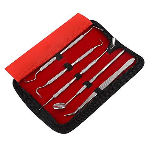 OKBY Kit de Dentista - Juego de Herramientas de Dentista de Acero Inoxidable Profesional de 5 Piezas, Kit de Limpieza de higiene Dental