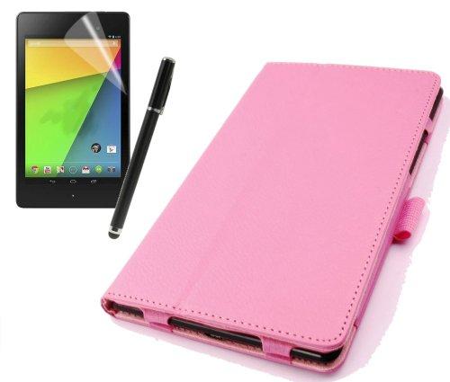 gada - Asus Google Nexus 7 II (2013) - Elegante Leder-Imitat tasche Wallet mit Ständerfunktion Etui Case Cover - rosa (Nexus 7 2013 Tasche Aus Echtem Leder)