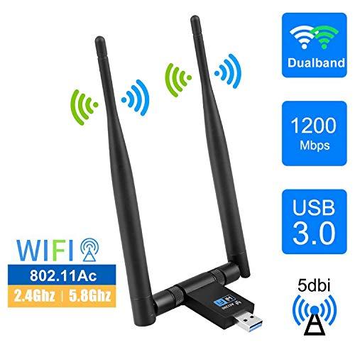 EasyULT Clé WiFi, USB 3.0 WiFi Wireless Adaptateur 1200Mbps, Clé WiFi Dongle 2 Antenne Dualband Detachable 5dBi 2.4/5.8 GHz, Compatible avec Windows XP/Vista/7/8/8.1/10, Linux, Mac OS X 10.6-10.14