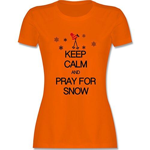 Keep calm - Keep calm and pray for snow - tailliertes Premium T-Shirt mit Rundhalsausschnitt für Damen Orange
