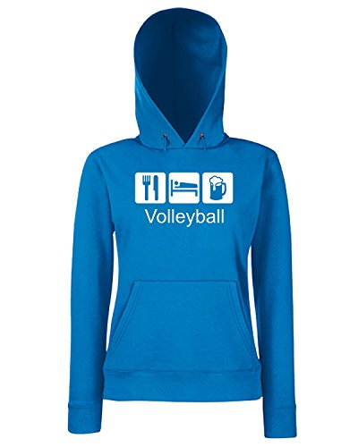 T-Shirtshock - Sweats a capuche Femme T1079 volleyball sport Bleu Royal