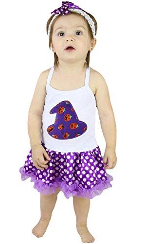 Petitebelle zucca cappello da strega Halter collo pois viola Body Tutu nb-24m Purple 0-6  Mesi