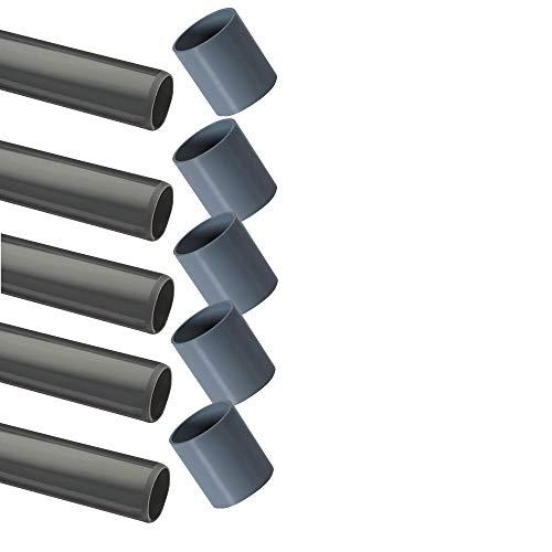 PVC Rohr 32 sowie Rohrverbinder Winkel Kniestück Muffen T-Stück Kappen (5 x Rohr + Muffe Ø32mm)