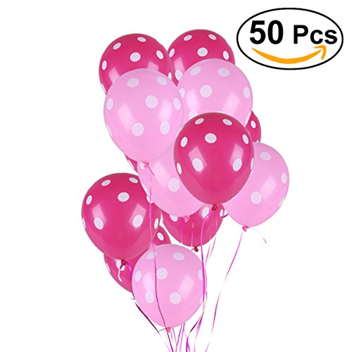 NUOLUX Latex Luftballons,12 'Polka-Punkt-Rosa-Luftballons für Hochzeits-Geburtstags-Party, 50 PC (Polka Dot Ballons Pink)