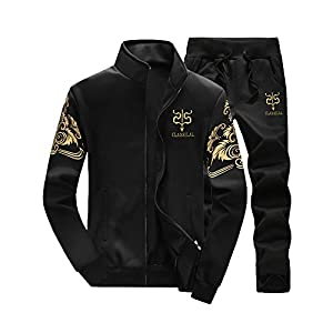 ☺HWTOP Sportjacke Sporthosen Sportanzug Sweatshirt Top Pants Sets Herren Verdicken Sportanzug Trainingsanzug