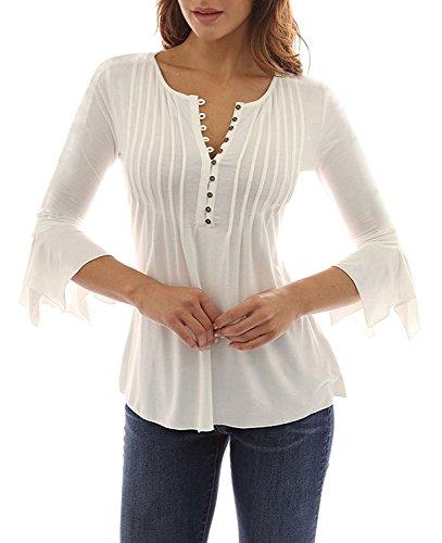 Minetom donna casuale elegante maglietta manica tunica bottone camicia manica 3/4 a foglia di loto scollo v casual t-shirt tops blusa bianco it 46