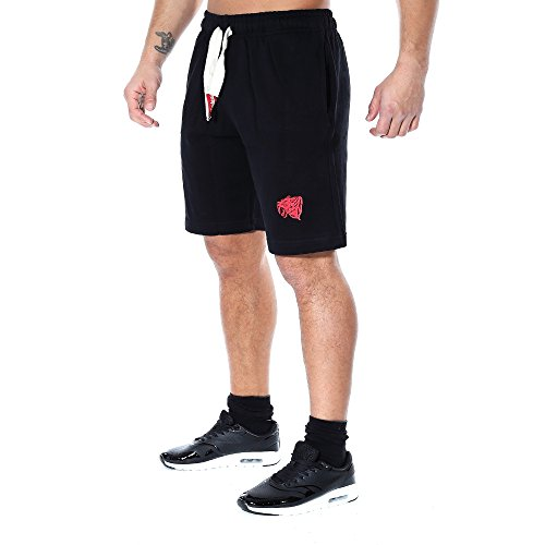 SMILODOX Herren Shorts 'Sidehead'| Kurze Hosen für Sport Fitness Gym Training & Freizeit | Sporthose - Freizeithose - Trainingshose - Sweatpants Jogger - Jogginghose Kurz Schwarz