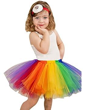 NiSeng Arco iris Capas Partido Danza Enagua de tul Tutú Falda de ballet para Bebés y Niñas